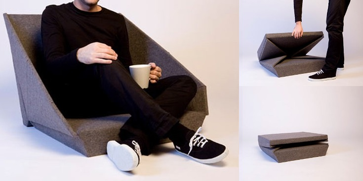 This compact chair unfolds - Store unlimited chairs