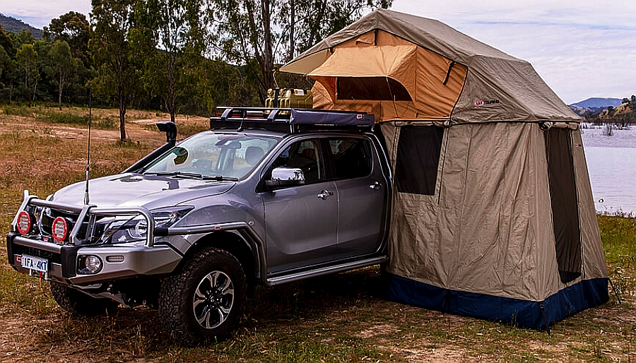 Vehicle mounted tents for trucks and SUVs